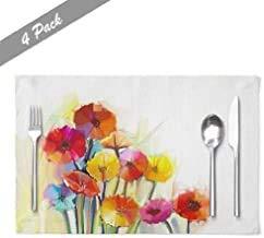 Ogden Moll Ölgemälde Tisch Tischsets,Hitzebeständige Tischsets Abstract Ölgemälde Frühlingsblumen Stillleben Gelbe Und Rote Farm Tischsets,4 Stück Set