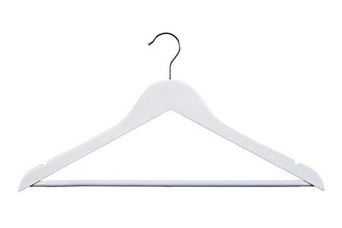 Todo Hogar Percha de Madera - 40 Unidades - Colores Natural, Blanca y Nogal con Barra para Pantalones Antideslizante