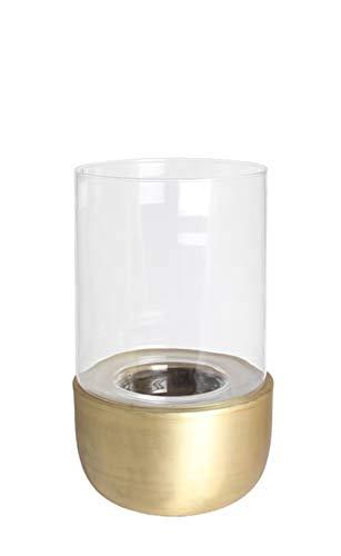 Kaheku Windlicht Cassani antik Gold, Ø 16,5 cm Aluminium Klarglas 99990419