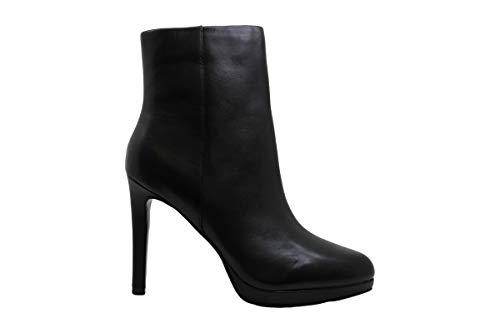 NINE WEST Womens Querida Platform Booties Leather Almond Toe Black