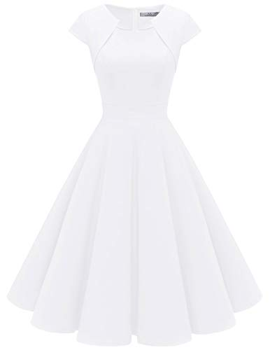 HomRain 1950er Vintage Retro Cocktailkleider Damen Kurzarm Rockabilly Kleider Party Abendkleider Schwingen Faltenrock White 2XL