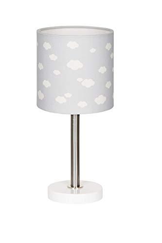 Lámpara de mesa, diseño de nube, color gris plateado y blanco