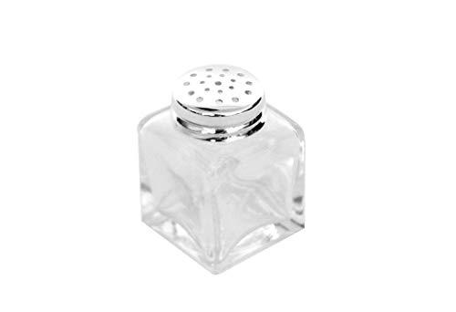 Brillibum Design Mini Gewürzstreuer Eckig Glas Feinsilber antibakteriell Echt Silber Salzstreuer Pfefferstreuer Streuer Gewürz Salz Pfeffer Kristallglas Streuer