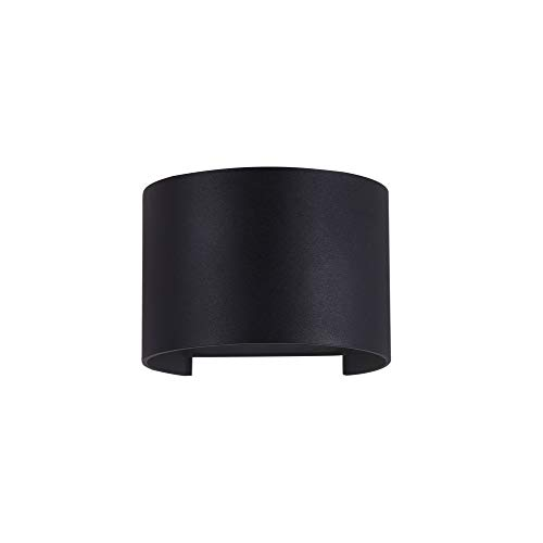 Applique murale exterieur LED, style moderne, armature en aluminium couleur noir, plafonnier en demie-cercle en aluminium couleur noir, terrasse 2 ampoules 3 W IP54 400lm 3000k 230V