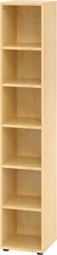 bümö® smart Aktenregal aus Holz | Büroregal für Aktenordner | Büro Regal System für Ordner | Bücherregal inkl. Einlegeböden (Ahorn, Breite = 40 cm | 6 Ordnerhöhen)