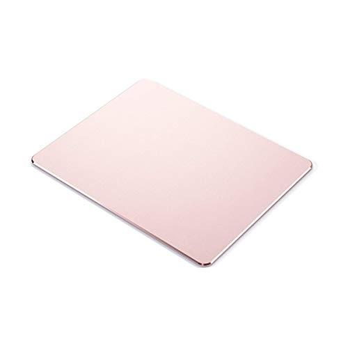 Metal Mouse pad mat,Aluminum Alloy Mouse Pads, Double-Sided,Waterproof,Smooth,Computer Mouse pad, Suitable for Gaming Office Home Personal Use Medium 8.7'x7.0' (Small Rose Gold)
