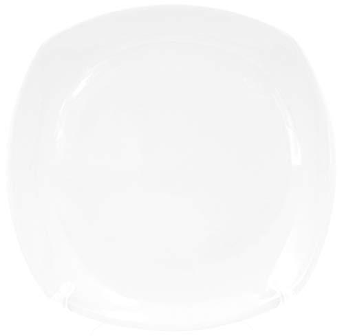 Juego de 6 platos cuadrados planos de porcelana auténtica de 190 x 190 mm, platos de ensalada, platos de postre, platos de desayuno, también para pintar, platos de mesa para gastronomía y hogar