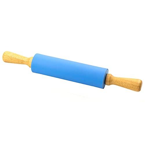 Lantelme Teigroller mit Antihaft Beschichtung aus Silikon mit Handgriffen aus Holz 38cm Nudelholz zum ausrollen von Teig 5742