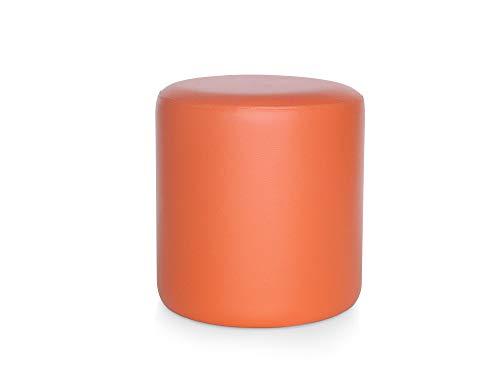 moebel-eins POUFI Hocker rund Pouf Polsterhocker Sitzhocker Sitzwürfel Fußhocker Kunstleder, orange