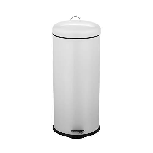 Ribelli Mülleimer aus Edelstahl - Mülltrennung Treteimer Abfalleimer Müllbehälter Papierkorb Mülltonne, rund, 30 Liter mit Inneneimer - Soft Closing (beige)