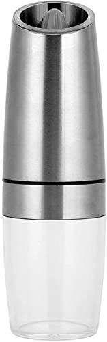 JeeKoudy Molinillos eléctricos de Sal y Pimienta, Molinillo de Especias automático por Gravedad con Luces LED Azules para Restaurante de Cocina