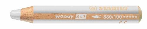 Buntstift, Wasserfarbe & Wachsmalkreide - STABILO woody 3 in 1 - Einzelstift - weiß