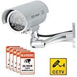 Dummy Camera CCTV Surveillance System with Realistic Simulated LEDs, findTop Dummy Security Camera with 6 Pcs Warning Security Alert Sticker Decals