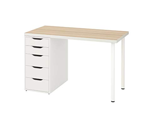 "Ikea Linnmon Alex Table 47"" White Stained Oak Effect 992.143.04"