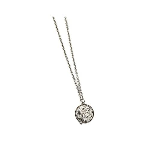 KGDC Collares Collar de Cadena de Acero de Titanio Simplicity, Collar de Cohete Personalizado y Astronauta, Collar de aleación, Collar de Pareja Collars de Mujer (Color : A, Size : 23.62in)