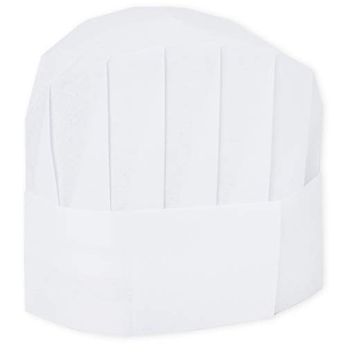 24-Pack Bulk Paper Chef Hats for Kids and Adults, Baker Cooking Kitchen Party Professional Chef Hat, Disposable Adjustable White Cap, 8 Inches