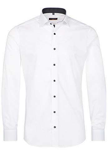 eterna Langarm Hemd Slim FIT Stretch Unifarben,W39 Langarm,Weiß