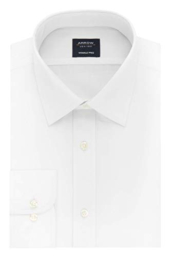 Arrow 1851 mens Poplin (Available in Regular, Slim, Fitted, and Extreme Slim Fits) Dress Shirt, White, 18 -18.5 Neck 36 -37 Sleeve XX-Large US
