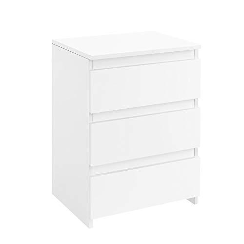 Yaheetech Nachttisch für Boxspringbetten Nachtschrank Nachtkommode in Weiß, mit 3 Schubladen