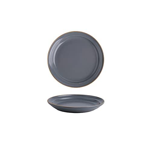DSFHKUYB Cuenco de cerámica para Pasta, Cuenco de Porcelana para Servir, Juego de 2 Cuencos de Sopa Poco Profundos, Juego de Platos para Pasta, Ensalada, microondas y lavavajillas,Negro,8in