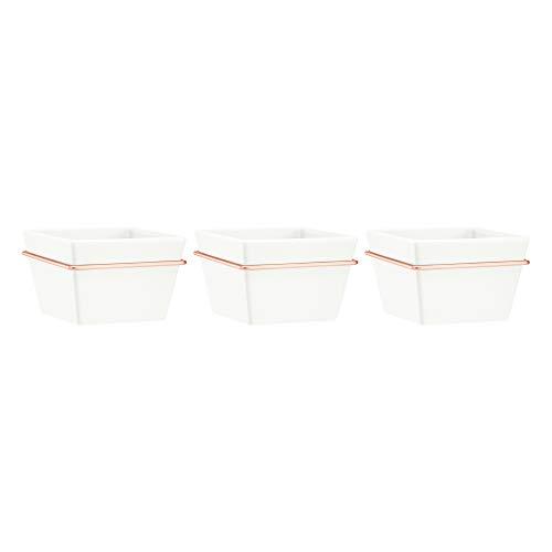 Amazon Basics Pflanztopf für die Wandaufhängung, quadratisch, Weiß / Kupferfarben, 3 Stück