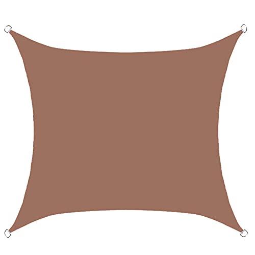 BBVS 2,5 * 2,5 m Cuadrado al Aire Libre Patio jardín Impermeable sombrilla Vela, toldo de poliéster, para Fiestas en el Patio, Patio Trasero, jardín, Actividades al Aire Libre (marrón)