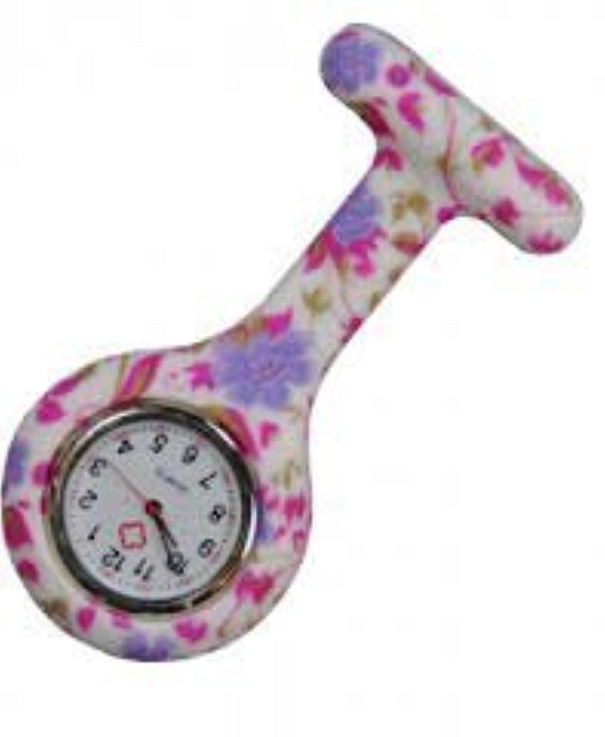 つまずく農業のアスリートBrand New Fashion Silicone Nurses Brooch Tunic Fob Watch New With FREE BATTERY by Boolavard? TM (Pale Purple Flowers)