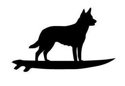 myrockshirt Pegatina para coche, diseño de perro sobre tabla de surf, 15 cm, calidad profesional, sin fondo, resistente a los rayos UV y al túnel de lavado