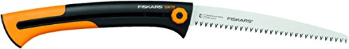 Fiskars Large Handsaw for Fresh Wood, Coarse Serration, Blade Length: 25.5 cm, Retractable, Stainless Steel, Black/Orange, Xtract, SW75, 1000614