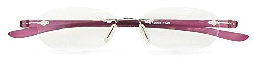 エニックス 老眼鏡 レディース +2.5 度数 縁なし 弾性テンプル クリアレッド R-426MT+2.50
