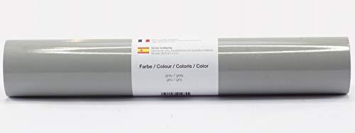 Selbstklebende Plotterfolie Vinylfolie 30,5 cm x 3 m glänzend 39 Farben zur Auswahl, Farbe:Grau