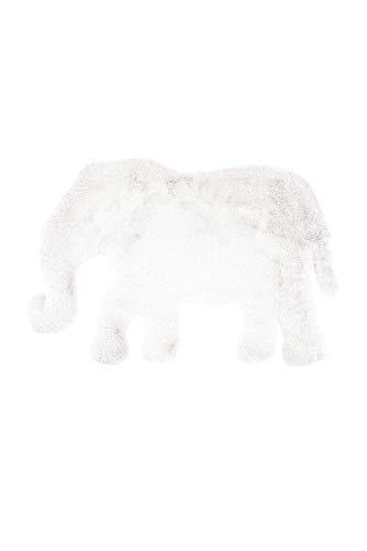 One Couture Alfombra Infantil Elefante Blanco Dormitorio Infantil Habitación Juego Suave Piel Artificial - 60cm x 90cm