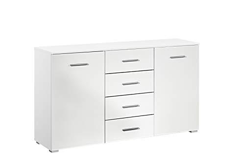Rauch Möbel Flexx Schlafzimmer Kommode, Kommode 2-türig mit 4 Schubladen in Weiß, BxHxT 140 x 81 x 42 cm