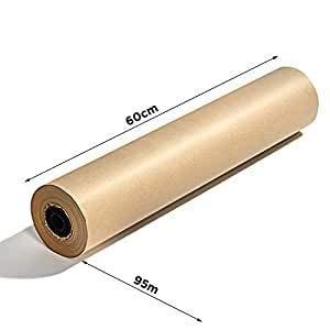 Cobus Hochwertige 95 m x 60 cm Packpapier Rolle | Umweltfreundliches Standard 70 g / m2 Natur Kraftpapier | FSC ausgezeichnetes Paketpapier in klassischem braun