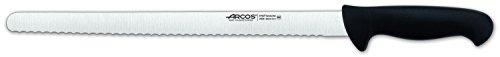 Arcos Serie 2900, Cuchillo Pastelero Flexible, Hoja Serrada de Acero Inoxidable Nitrum de 350 mm, Mango inyectado en Polipropileno Color Negro