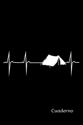 """Cuaderno, diario, agenda, bloc de notas de bolsillo con el diseño de la frecuencia cardíaca """"Mi corazón late para acampar"""" - Accesorio de camping: ... a las tiendas y al camping (Spanish Edition)"""