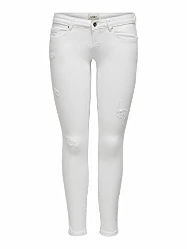 ONLY Female Skinny Fit Jeans ONLCoral SL Destroyed 3134White