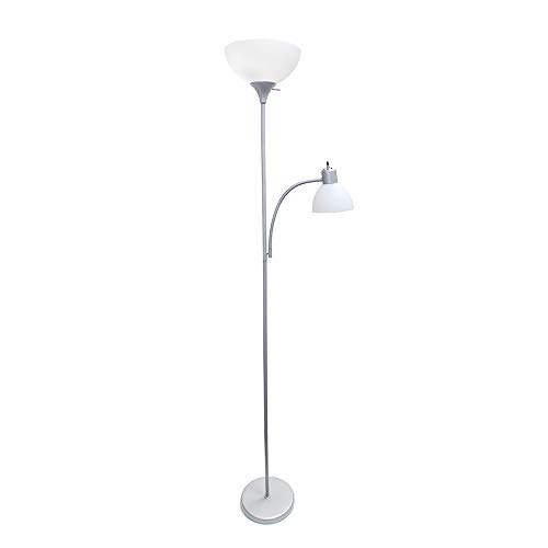 Home LF2000-SLV Simple Designs Floor Lamp with Reading Light, Silver