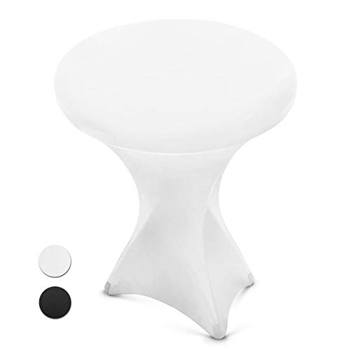 White Spandex Cocktail Table Cover - Fitted High Top Round Table Cloth, Round Tablecloth Covers for Bar Table, Pub Table, Round Kitchen Table, High...