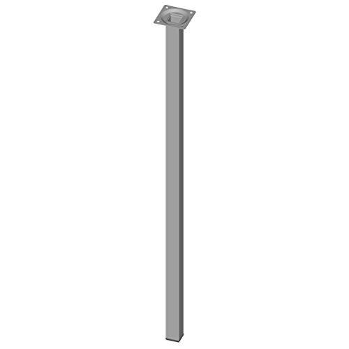 Element System 4 Stück Stahlrohrfüße eckig, Tischbeine, Möbelfüße inklusive Anschraubplatte, 70 cm, 10 Abmessungen, weiß / aluminium, 4 farben, 18133-00312