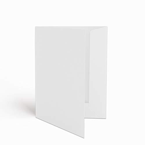 50 Hochwertige Präsentationsmappen - DIN-A4 HOCHWEISS Stabiler durchgefärbter 320g/m² Karton - eigene Herstellung in Deutschland (Dokumentenmappen Angebotsmappen Pappmappen Arbeitsmappen Pappe)