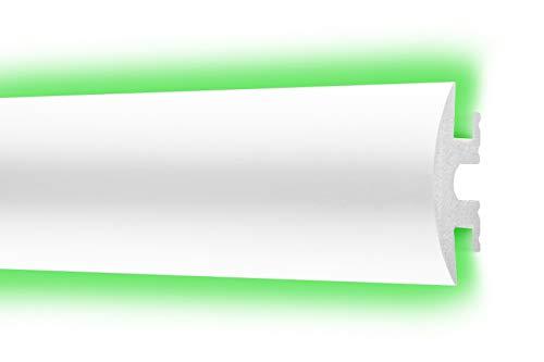 LED Flachleiste 25x55cm - effektvolle Wandgestaltung mit indirekter Beleuchtung - Stuckleiste aus hartem Styropor, leicht und stabil - 2 Meter Leiste, CM10