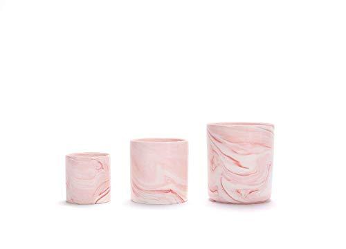 ZYTB El Modelo de mármol Tiesto nórdica Estilo Planta de cerámica Redondo Ollas Creativo Succulent Rosado con el Agujero de la Maceta pequeña Oficina en casa decoración de Escritorio (Color : 011)