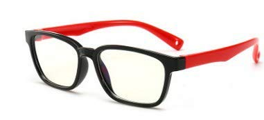 B-LIGHT Blue Light Blocking Children's Fashion Glasses. Help Prevent Eye Strain, Headaches from Phones, Laptops, Tablets, Gaming. TPEE Flexible. Unisex. Boys. Girls. Black & Red
