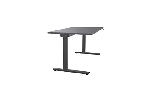 OKA Easy Up, Schreibtisch elektrisch höhenverstellbar, LED Anzeige, Memory-Funktion, (Tischplatte Vulkangrau/Gestell Metallgrau, 160 x 80 cm)