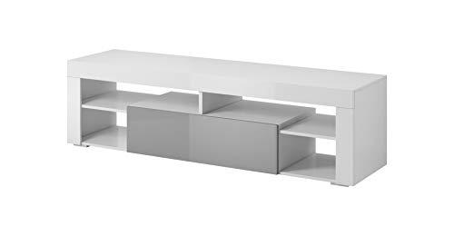 E-Com - TV-Lowboard Fernsehschrank Fernsehtisch Titan - 140 cm - Weiß/Grau