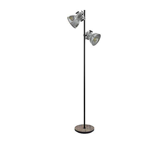 EGLO Stehlampe Barnstaple, 2 flammige Vintage Stehleuchte im Industrial Design, Retro Standlampe aus Stahl im Zink Used-Look, Holz, Farbe: braun-Patina, schwarz, Fassung: E27, inkl. Trittschalter