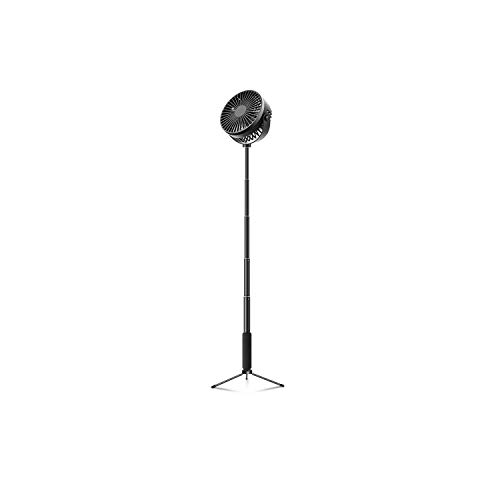USB-Fans |Faltbarer Lüfter Teleskoplüfter Wiederaufladbarer Lüfter Tragbarer 2-in-1-Standfuß-Standventilator 360-Grad-Drehsockelventilator 3 Modi-Schwarz-