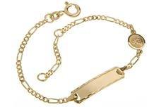 Silberketten-Store Kinder/Baby Gravur-Armband Figaro mit Schutzengel inkl. Gravur- 333 Gold - Länge wählbar von 12-16cm