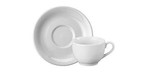 Estojo com 6 Xícaras de de Chá com Pires. Modelo Redondo Voyage Coup. Branca. Fabricado pela Porcelana Schmidt.